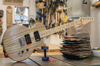 Guitar Made Out of Broken Skateboards