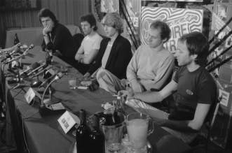 Dire Straits during their press conference at the Sebel Town House in Kings Cross, Sydney on April 6, 1981. Photo Credit: Peter Morris